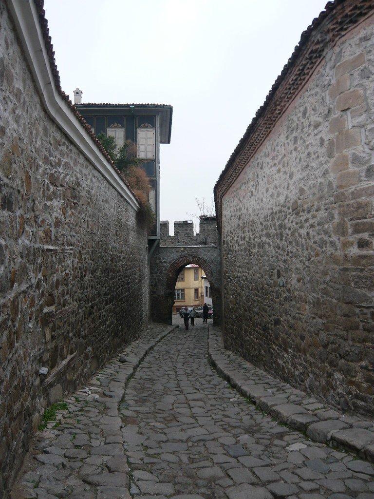 Puerta de Hissar y parte de la muralla de la ciudadela de Plovdiv
