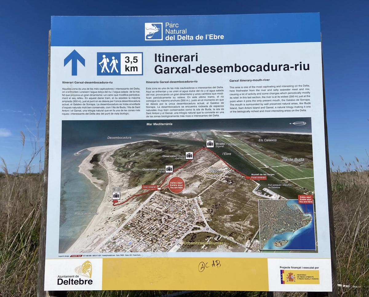 Mapa que indica el camino al itinerario del Garxal.