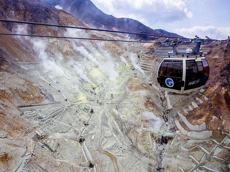 Teleférico de Hakone subiendo hacia Owakudani
